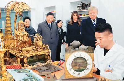 国家主席习近平和夫人彭丽媛11月8日陪同来华进行国事访问的美国总统特朗普和夫人梅拉尼娅参观故宫博物院